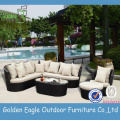 Outdoor Ottomans Rattan Sofa Set with Pillows