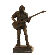 Decoración de música Estatua de bronce Bass Player Craft Escultura de bronce Tpy-750