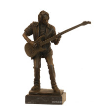 Music Decor Brass Statue Bass Player Craft Bronze Sculpture Tpy-750