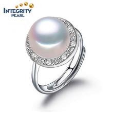 Perlen-Ring-Entwurfs-Art- und Weiseperlen-Ringe 925 silberner 8-9mm AAA Knopf-Perlen-Ring-Entwürfe für Frauen