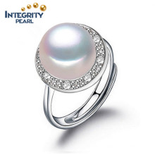 Pearl Ring Design Fashion Pearl Rings 925 Argent 8-9mm AAA Button Pearl Ring Designs pour les femmes