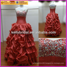 Red organza gorgeous /magnificent /luxuriant evening dress with lace up back