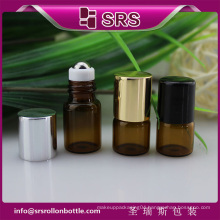 SRS no leakage empty amber color 1ml 2ml small glass medicine bottles