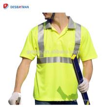El trabajo de seguridad reflexivo ligero al por menor del poliester del poliester respirable de la alta visibilidad al por mayor barato viste con el bolsillo
