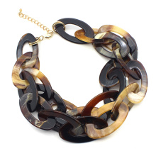 lightweight chunky choker necklace jewelry for women Fashion acrylic two layered necklace