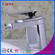 Fyeer Simple Graceful Short Spray Waterfall Bathroom Chrome Faucet Grifo del mezclador de agua caliente y fría