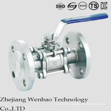 Válvula de bola flotante bridada del acero de carbono de 3PC con la manija de Manul