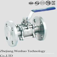 La valve à tournant sphérique flottante à bride en acier au carbone 3PC avec la poignée de Manul