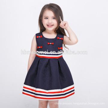 Little Girls Princess Party Wear Western Dress Deep Blue Color Stripe Sleeveless Children Girl Dress