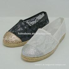 Reizvolle Glitterdame flache Schuh transparente Spitze beschuht Frauenschuhdame 2015