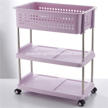 3-Tier Plastic Storage Shelves with Wheels