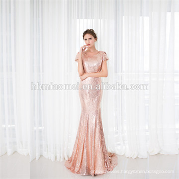 Stunning Short Sleeve Backless Sparkle Sexy Long Evening Dress Fish Cut