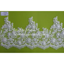 China wholesale Trimming Cotton Lace With High Quality/Border beaded floral bridal lace trim for wedding dress CTC133B