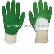 Latex beschichtete Interlock Liner Garten Handschuhe, zurück offen, Strick Handgelenk