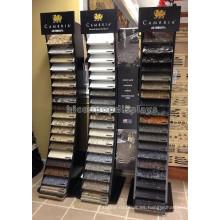 Productos de Piedra de pie de madera de productos de sala de exposición a medida 20 Piezas por rack de visualización de azulejos de fila
