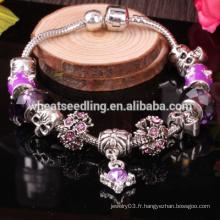 Bijoux en argent haute qualité en gros, bracelet en perles de verre murano bracelet de charme