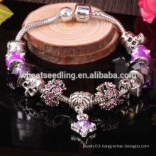 wholesale high quality silver jewelry, murano glass beads charm bracelet