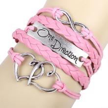 Corações rosa lindas pulseira de cordão um sentido infinito pulseiras artesanais de couro trançado DIY pulseiras para meninas por atacado