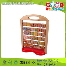 Green wooden toys for kids,high quality of alphabet educational toys educational counting toys