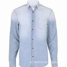 Men's Denim Long-sleeved Casual Shirt, 100% Cotton, Garment Wash, Button-down Collar