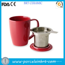 Tasse à thé en céramique en gros avec infuseur en inox