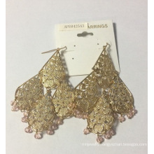 Metal Lace Tassel Earrings 18k Gold