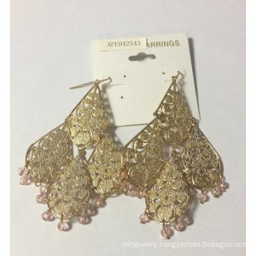 Metal Lace Tassel Earrings 18k Gold