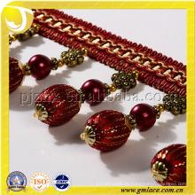 Hölzerne Perlen Perlen Fransen 8CM Golden Seide Fransen Perlen-Trimmen