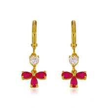 Xuping Zircon Flower Zircon Earring with 24k Plated Gold (22704)
