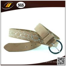 Heißer Verkaufs-Brown-glänzende Frauen-Gurte Rhinestone-Leder-Gürtel