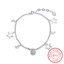 La mayoría de la moda 925 Sterling Steel pulsera de la luna y la forma de la estrella colgante de plata esterlina pulsera