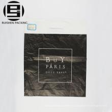 Bolso de compras plástico negro del hdpe de la manija del remiendo