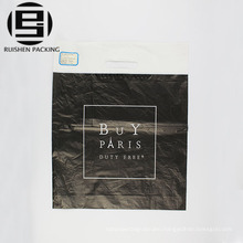 Black patch handle hdpe plastic shopping bag