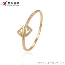 51335 Xuping al por mayor dos diseños de triángulo forma simple brazalete de oro con piedra para mujer