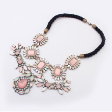 Stylish new alloy metal exaggerate chokers gemstone statement necklace resin flowers Europe and America Bohemian sweet jewelry