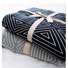 PK17ST378 maison textile jacquard noir blanc motifs coton cachemire couvertures