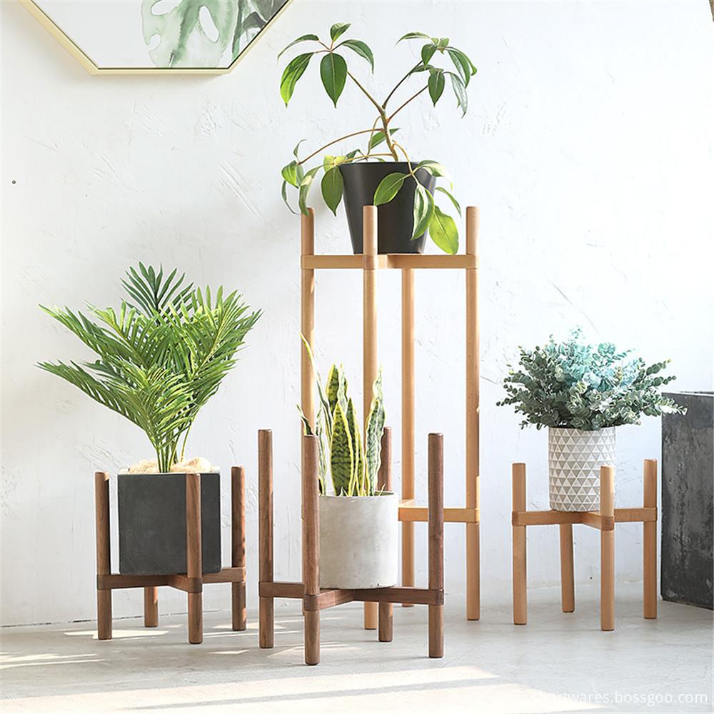 wooden flowerpot shelf