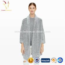 Cardigan tricoté épais à neuf manches sans boutons