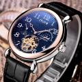top 10 brand genuine leather band tourbillon watch
