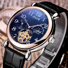 top 10 brand genuine leather band tourbillon watch