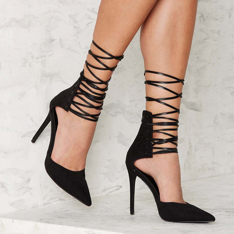 black genuine leather strappy stiletto heel shoes