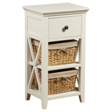 Woven Wooden Basket Bathroom Storage Cabinet