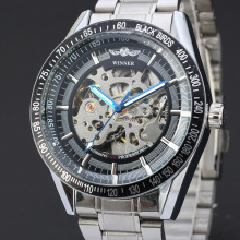winner multi function rotating dial watch with stainless steel band