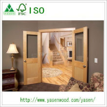 Glazed Wood Panel Maple Veneer Wooden Door