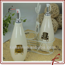 Botella de aceite de cerámica y botella de vinagre