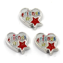 Alloy Metal Friends Heart Charms for Floating Locket