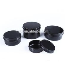 matte black cosmetic empty cream aluminum jar