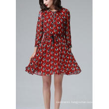 Summer Red Round Flower Print Long Sleeve Women′s Dress
