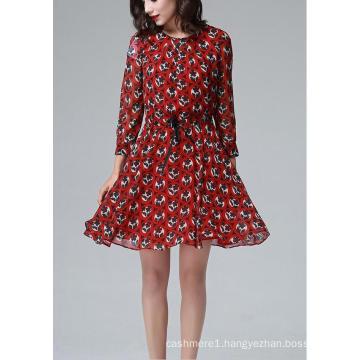 Summer Red Round Flower Print Long Sleeve Women′s Dress