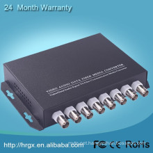 Monitor video multiplexer 8 channel fiber optic to coaxial converter with RS485